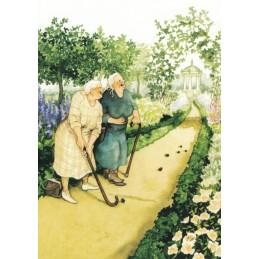 06 - Old Ladies playing miniature golf - Postcard