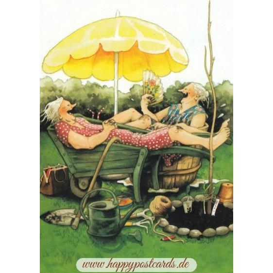 20 - Frauen in Schubkarre und Zuber - Postkarte