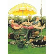 20 - Old Ladies in pushcart and tub - Postcard