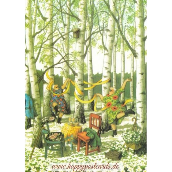 36 - Frauen im Birkenwald - Löök Postkarte
