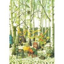 36 - Old Ladies in birch forest - Postcard