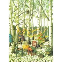 36 - Old Ladies in birch forest - Postcard