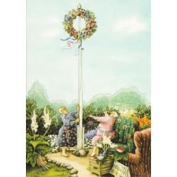 46 - Frauen mit Blumenkranz - Löök Postkarte