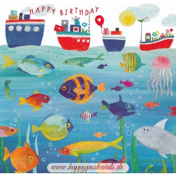 Fische mit Happy Birthday - Carola Pabst Postkarte