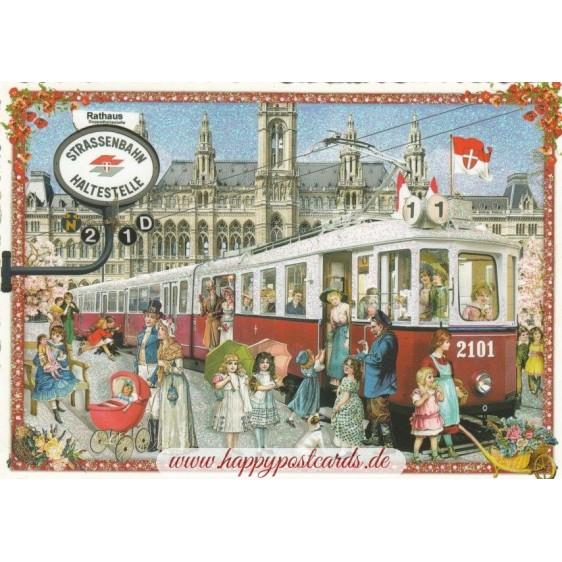 Vienna, Tram - Tausendschön - Postcard