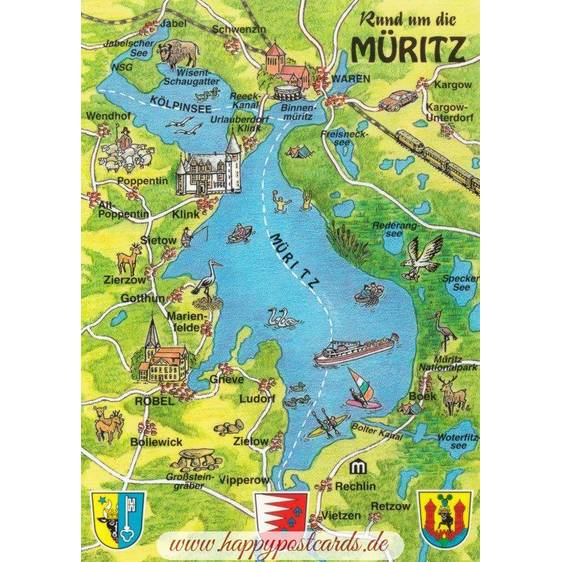 Müritz - Map - Postkarte