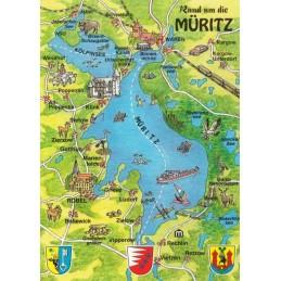 Müritz - Map - Postcard