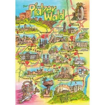 Pfälzer Wald - Map - Postkarte