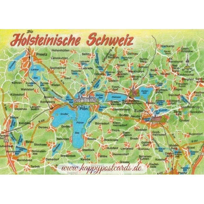 Holsteinische Schweiz Karte.Holsteinische Schweiz Map Postkarte