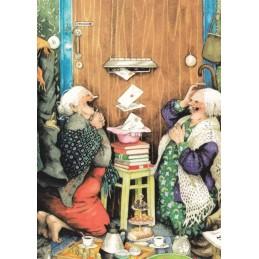 23 - Frauen vor dem Briefkasten - Postkarte