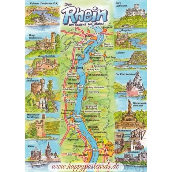 Rhine - Map - Postcard