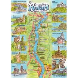 Der Rhein - Map - Postkarte
