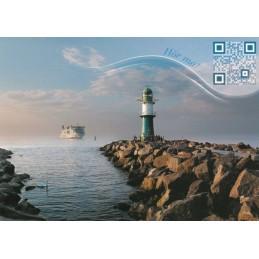 Einlaufendes Fährschiff - Leuchtturm - Sound-Karte