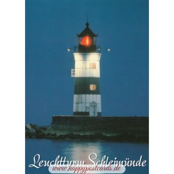 Leuchtturm Schleimünde -Nacht - Ansichtskarte