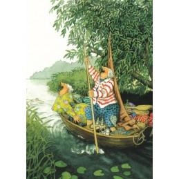 28 - Frauen im Boot - Postkarte