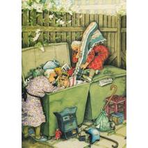 12 - Old Ladies at the Garbage Container - Postcard