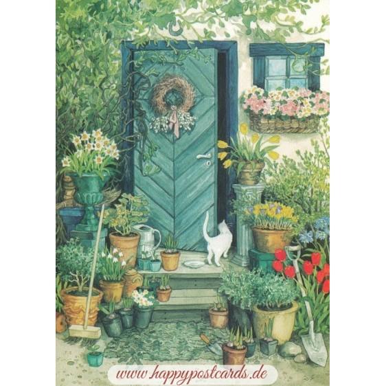 109 - Weiße Katze und Blumentöpfe vor der Eingangstür - Löök Postkarte