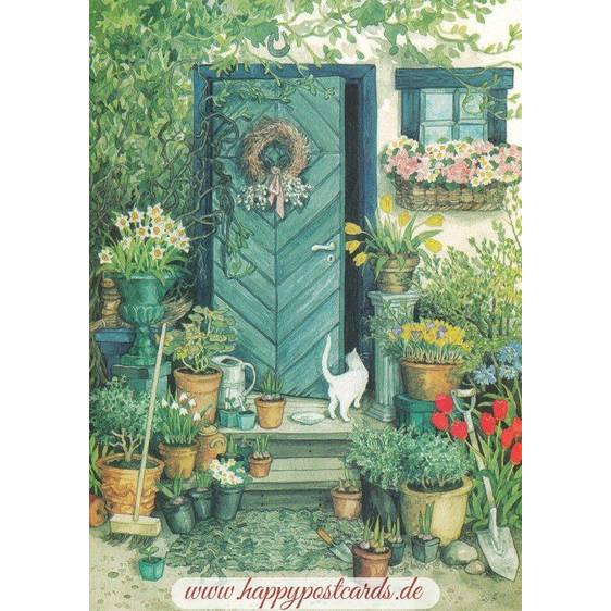 109 - White cat and Flowers in front of the Door - Postcard