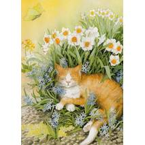 113 - Cat in Flowers - Postcard