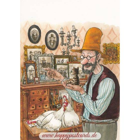 Findus mit Familienporträts - Pettersson Postkarte