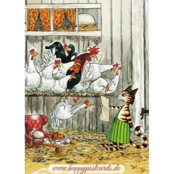 Findus bei den Hühnern - Pettersson Postkarte