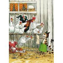 Findus visiting the chicken - Pettersson postcard