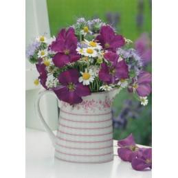 Blumenstrauß in Kanne - Postkarte