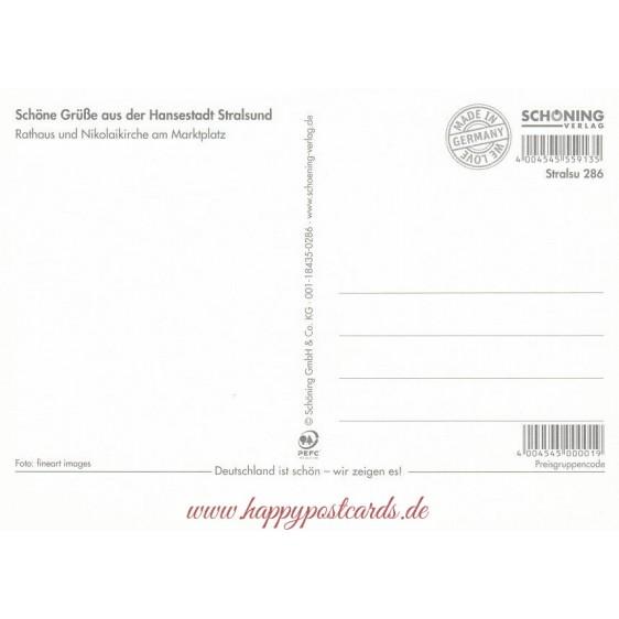 Stralsund - Rathaus - Nikolaikirche - Ansichtskarte