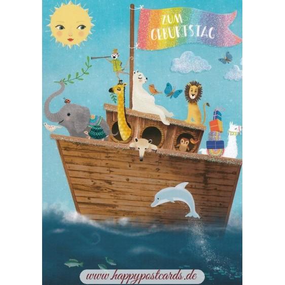 Zum Geburtstag - Ship with animals - Mila Marquis Postcard