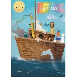 Zum Geburtstag - Schiff mit Tieren - Mila Marquis Postkarte