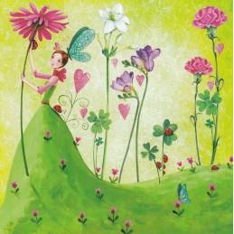 Frau mit Sommerblumen - Mila Marquis Postkarte