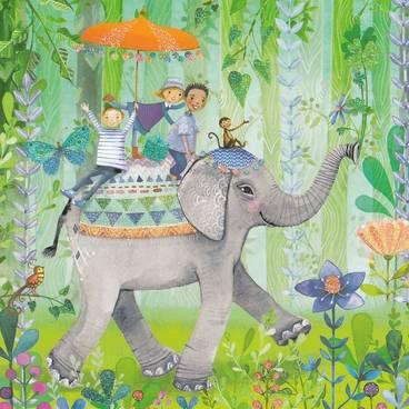Elefantenritt - Mila Marquis Postkarte