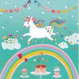 Einhorn überm Regenbogen - Mila Marquis Postkarte