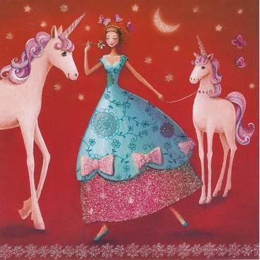Frau mit Einhörnern - Mila Marquis Postkarte