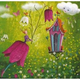 Frau mit Schachbrettblume - Mila Marquis Postkarte
