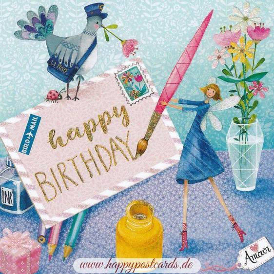 Happy Birthday Brief - Mila Marquis Postkarte