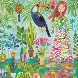 Frau mit Vogel - Mila Marquis Postkarte
