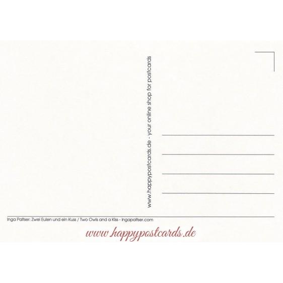 Zwei Eulen und ein Kuss - Paltser Postkarte