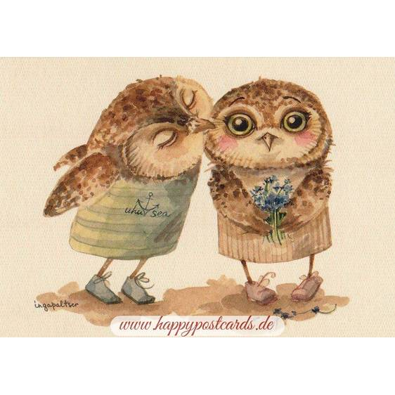 Two Owls and a Kiss - Paltser - Postcard