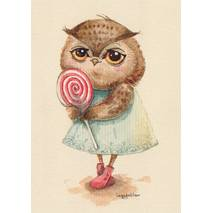 Owl with a Lolly -Paltser - Postcard