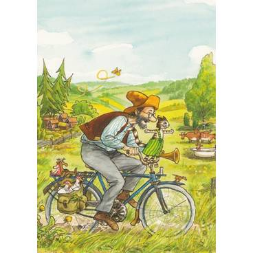 Pettersson auf Fahrrad