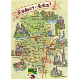 Saxony-Anhalt - Map - Postcard