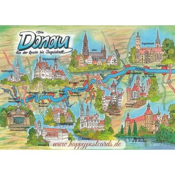 Danube - Map - Postcard