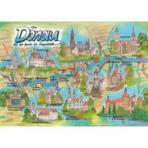Danube - Map - Postcard