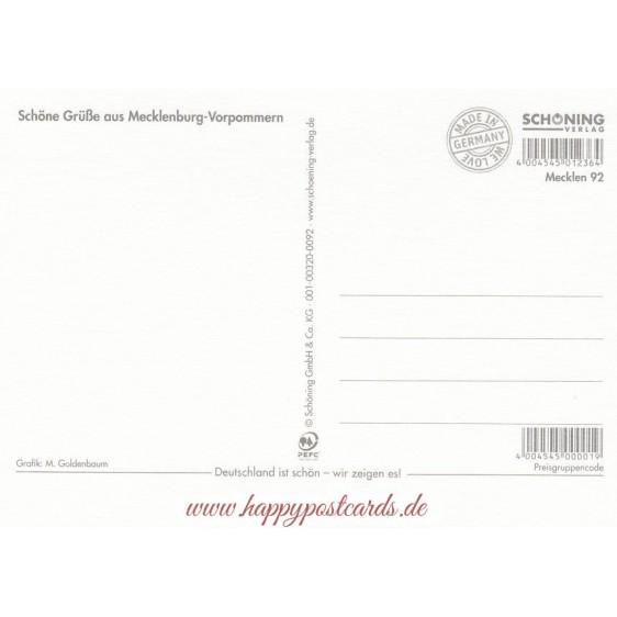 Mecklenburgische Seenplatte 2 - Map - Postkarte