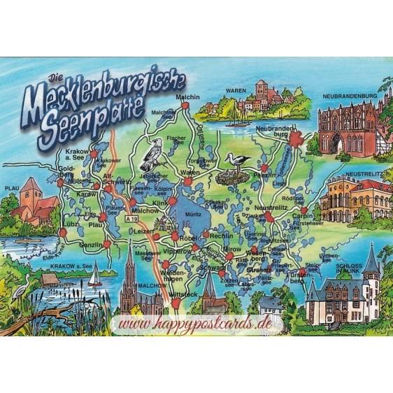 Mecklenburgische Seenplatte 2 - Map - Postcard