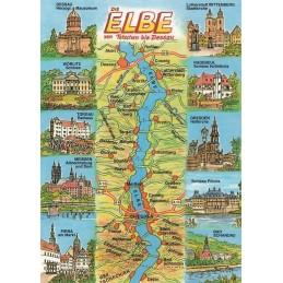 Die Elbe - Map - Postkarte