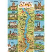 Elbe - Map - Postcard