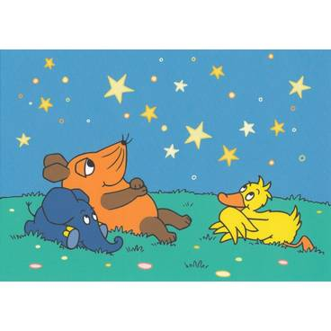 Ente, Maus und Elefant beobachten Sterne