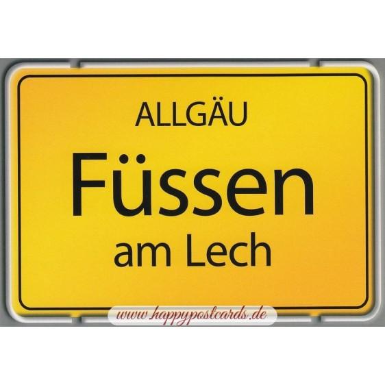 Füssen - Ortsschild - Ansichtskarte